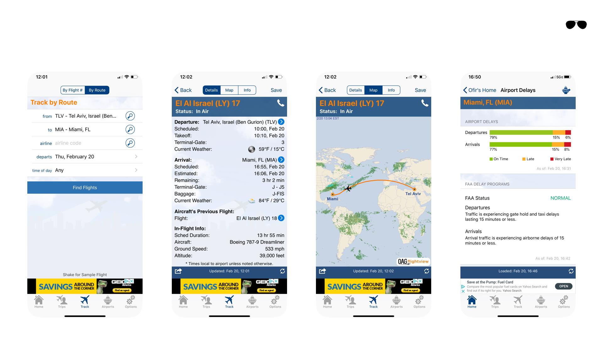 אפליקציות לטייסים - איתור טיסות